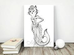 Gatto Sirena Art Decorazione Originale Home Decor di MaliziArt