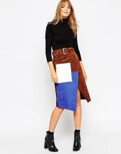 ASOS | ASOS Denim Split Front Midi Pencil Skirt in Midwash Blue at ASOS