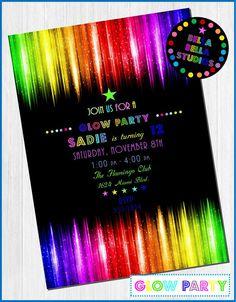 GLOW PARTY Neon Custom Printable INVITATION by BellaBellaStudios