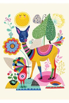 We are loving this vibrant multicolored llama and peacock friendship. This folk art inspired decal by Oopsy Daisy™ is the perfect bohemian wall decor. This stickable posters can be stuck and re-stuck without stretching or ripping.