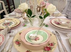 A Vintage Wedding ~ All Vintage dinner ware, silver cutlery, vases & linen from The Vintage Table.