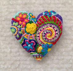 Freeform embroidery heart brooch  Brooch 147 by Lucismiles on Etsy