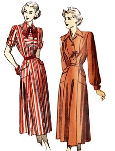 Advance 4883 Misses' Vintage 1940s Shirtdress Sewing Pattern by DRCRosePatterns on Etsy