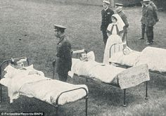 King George V visits wounded soldiers at Number 3 Base Hospital, Sheffield. Expected occupational hazards such as gunshot wound, trench foot and mustard gas poisoning feature heavily in the previously unseen archive