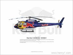 An original Illustration by Eric Lian. Red Bull AS350.