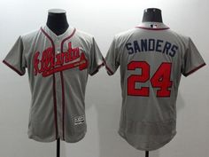 7de3b4192da Braves  24 Deion Sanders Grey Flexbase Authentic Collection Stitched MLB  Jersey