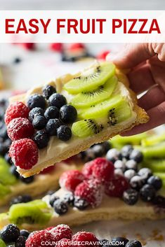 All I can say is YUM! This Easy Fruit Pizza uses crescent dough instead of a sugar cookie base making it a quick and easy appetizer or dessert!  It's topped with sweetened cream cheese then loads of yummy fruit! #fruitpizza #summerdessert