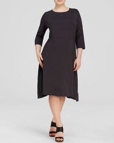 Eileen Fisher Plus Jersey Knit Scoop Neck Dress