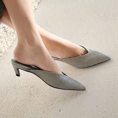 Chiko Farrar Kitten Heel Metallic Pointed Mules feature pointy toe, metallic upper, kitten heels with rubber sole. Lace Up Heels, Ankle Strap Heels, Low Heels, Pumps Heels, Stiletto Heels, Flats, Ankle Straps, Kitten Heels Outfit, Heels Outfits