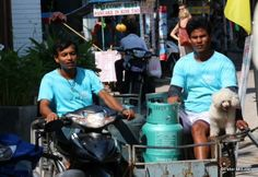 Gas bottle delivery by motorcycle side car, Thailand.  By TG member, Mac