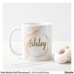 Shop Pink Marble Gold Terrarium Custom Monogram Name Coffee Mug created by PrintablePretty. Marble Mugs, Pink Marble, Gold Terrarium, Customised Mugs, Name Mugs, Mug Printing, Cricut Ideas, Coffee Mugs, Monogram