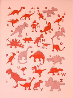 Girls like dinosaurs too, ya know! Great ABC poster in pink, blue or yellow.