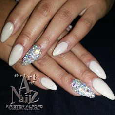 awesome and classic. love this almond shape with the crystal accent nails.