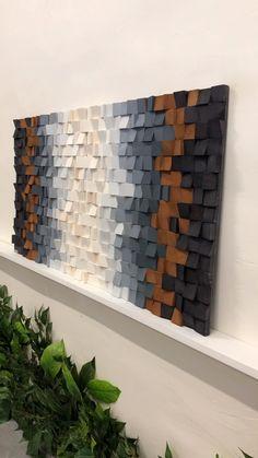 Wood Wall Art Decor, 3d Wall Art, Geometric Wall Art, Wooden Wall Art, Wooden Wall Design, Reclaimed Wood Art, Wood Mosaic, Wall Art Designs, Wall Sculptures