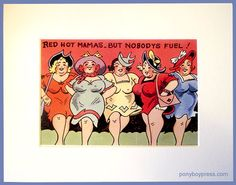 Red Hot Mamas  5x7 Giclee Print of Vintage Postcard by ponyboypress on Etsy
