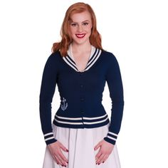 Hell Bunny Starboard Blue Nautical Sailor Style Cardigan Top