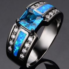 black opal rings for men - Google Search