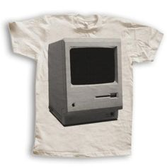 """Printed on a Cream colored Tee of course.The second shirt in our """"Great Moments of the Century"""" series is the first Macintosh, or Mac. The Macintosh was introduced on January it was. Great T Shirts, Awesome Shirts, Tee Shirts, Tees, Textile Prints, Graphic Design Inspiration, Shirt Designs, In This Moment, My Style"""