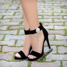 Lace Heels, Hot Heels, Fancy Shoes, Trendy Shoes, Black High Heels, Black Shoes, Royal Blue Wedding Shoes, Hype Shoes, Fashion Sandals