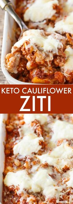 Low Carb Recipes Keto Cauliflower Ziti - Enjoy all the flavours of hearty Italian meal without the carbs! This keto casserole is meaty and cheesy. - Enjoy all the flavours of hearty Italian meal without the carbs! This keto casserole is meaty and cheesy. Ketogenic Recipes, Low Carb Recipes, Diet Recipes, Cooking Recipes, Healthy Recipes, Vegetarian Recipes, Recipies, Vegetarian Dish, Smoothie Recipes
