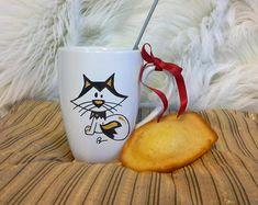 Mug Renard Polaire cadeau Noël en céramique décoré à la main