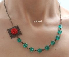 Pearls necklace color block green glass red flower