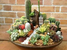 Magical DIY Succulent Fairy Garden Ideas - Decomagz - Sukkulenten-Minigarten You are in the right place about Cactus wallpaper Here we offer you the most - Succulents In Containers, Cacti And Succulents, Planting Succulents, Cactus Plants, Cactus Art, Indoor Cactus, Indoor Plants, Balcony Plants, Decoration Cactus