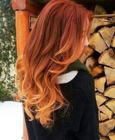 Nice brown red ombre hair color to blonde, wonderful wavy hairstyle, really my favorite