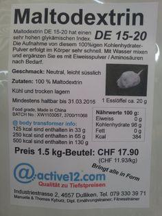 44 % - AKTION nur 29.6. + 30.6.15: Maltodextrin DE 15-20 hat einen sehr hohen Glykämischen Index, ideal während und gleich nach intensiven Trainings zur Förderung der Regeneration....