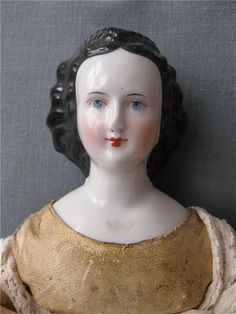 Rare Antique China Doll w Elaborate Hair Style with Braids & Back-curls ca 1860 Auctiva Image Hosting
