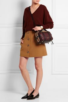OUTFIT | Chloe cropped cashmere sweater + Nicholas Kirkwood patent-leather point-toe flats + Burberry Shearling and leather tote