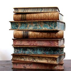 michaelmoonsbookshop:  old leather bound books - 19th century