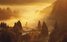 Fog over landscape, Yamakoshi, Nagaoka,  Niigata Prefecture, Japan