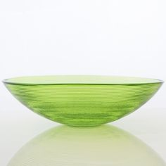 Grehom Recycled Glass Bowl - Ribbed (Green); 30 cm Coloured Bowl