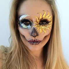 """26.3 mil Me gusta, 499 comentarios - ________VANESSA DAVIS________ (@the_wigs_and_makeup_manager) en Instagram: """"Sun & Moon & Stars Skull 🌞💀🌛💫 I fancied a quick makeup tonight before bed. Eye makeup recreated…"""""""