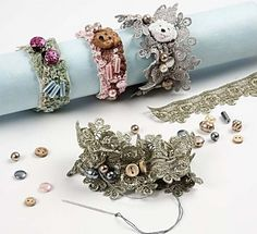Lace bracelets on Elastic Cord how to pix) ~ Wire Jewelry Tutorials Lace Jewelry, Fabric Jewelry, Jewelry Crafts, Jewelry Art, Jewelery, Vintage Jewelry, Handmade Jewelry, Jewelry Design, Bracelet Fil