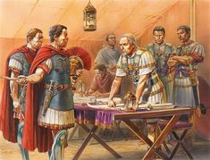 In the Battle of Alesia, Julius Caesar is planning an attack Ancient Rome, Ancient Greece, Ancient History, Roman History, Art History, Roman Legion, Roman Republic, Roman Soldiers, Julius Caesar