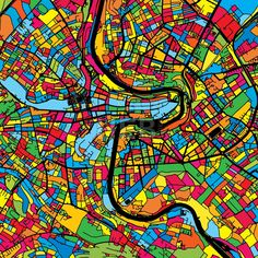 Bern Switzerland Colorful Map by Hebstreit #map #gift #beautiful #download #digital #vector #art #stockimage #hebstreit