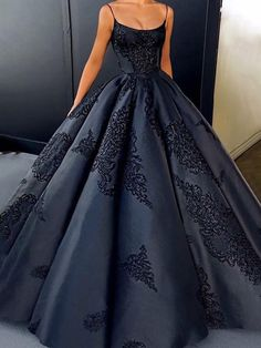 2018 Ball Gown Prom Dress Modest Beautiful Vintage Cheap Long Prom Dress,Spaghetti Straps Dark Blue Sweetheart Prom Dresses,Prom Dresses TG34,#black#ballgown#promdress#long#eveningdress#cheap#vintage