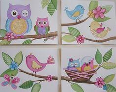 Owls birds wall art baby nursery kids line set four by terezief, $20.00