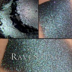 It is a very rich and chromatic black, with vivid duochrome effects that range from chartreuse to green to teal to blue. It also has brilliant violet sparks in it. It is exceptionally pigmented, and the duochrome effect is extremely strong if you foil this color/apply it wet. - See more at: http://www.aromaleighcosmetics.com/product/ravenstag/#sthash.0rEKeII6.dpuf