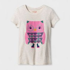 Girls' Short Sleeve Owl Graphic T-Shirt - Cat & Jack™ Oatmeal Heather : Target Owl Graphic, Graphic Tees, Pink Owl, Short Girls, Girl Outfits, T Shirts For Women, Oatmeal, Mens Tops, How To Wear