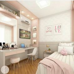 Room decor - Project @ architect leticiasantana And always a love project for girls ! Look at this room, has no charm With a lot of … architectleticiasa Room Design Bedroom, Girl Bedroom Designs, Room Ideas Bedroom, Home Room Design, Small Room Bedroom, Bedroom Decor, Bedroom Lighting, Teen Bedroom Colors, Bedroom Furniture