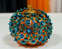 10 Ways to Decorate a Teal Pumpkin for an Allergy-Free Halloween >> http://www.diynetwork.com/how-to/make-and-decorate/decorating/2015-pictures/decorate-a-teal-pumpkin-for-an-allergy-free-halloween