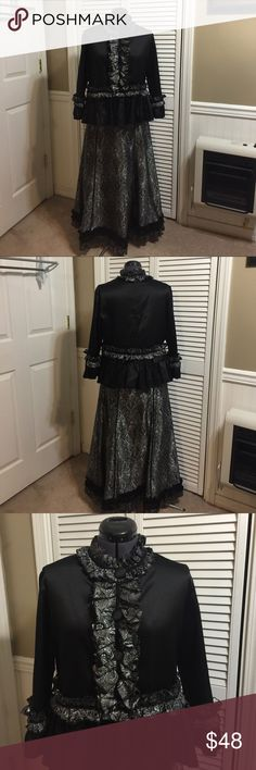 Custom one of a kind two piece outfit Black and gray custom one of a kind two piece outfit with ruffles. Skirt has a zipper. Top also zips down the back. custom Dresses