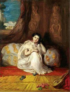 Algérie  - Peintre FrançaisThéodore Chassériau(1819-1856) , huile sur toile  ,Titre : Jeune femme mauresque assise dans un riche intérieur