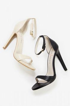 Genuine leather strappy high-heeled sandals