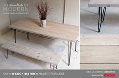 White wash made from 1 part matte paint and 4 parts water. HomeMade Modern DIY White Washed Table with Hairpin Legs Postcard White Wash Table, Painted Furniture, Diy Furniture, Modern Kitchen Tables, Modern Table, Particle Wood, Homemade Modern, Hairpin Legs, Hairpin Table