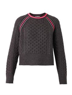Contrast-stripe Aran-knit sweater | T by Alexander Wang | MATC...