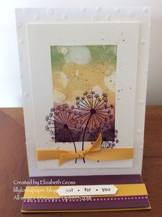 """Lillybet's Papers: Bokeh Dots with the """"Stamparatus Multicolour stamping technique"""" Dandelion Wish, Stampin Up Catalog, Sympathy Cards, Greeting Cards, Get Well Cards, Stress, Paper Cards, Cool Cards, Flower Cards"""